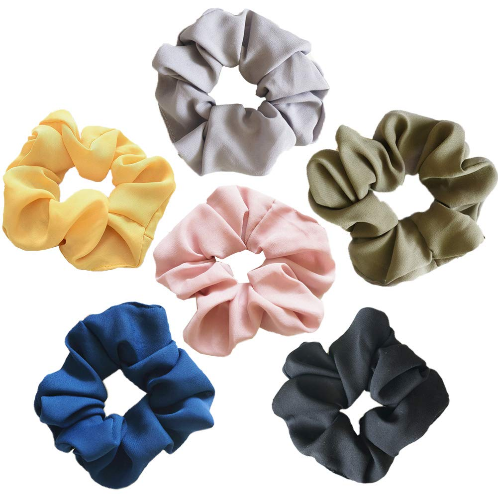 Hair Srunchies, 6 Style Elastic Hair Bands for Girls Women, Block Color Hair Bow Chiffon Ponytail Holder, Hair Scrunchy Bobbles Soft Hair Bands Ties Headband Vidillo