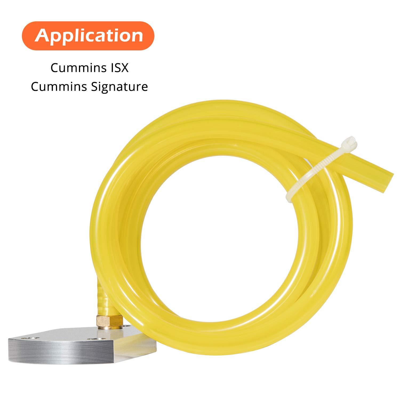 1000MM 3164001 Fuel Injector Leak Test Kit for Cummins ISX//Signature Engine Hard Aluminum Alloy Adapter Plate PVC Flexible Tube