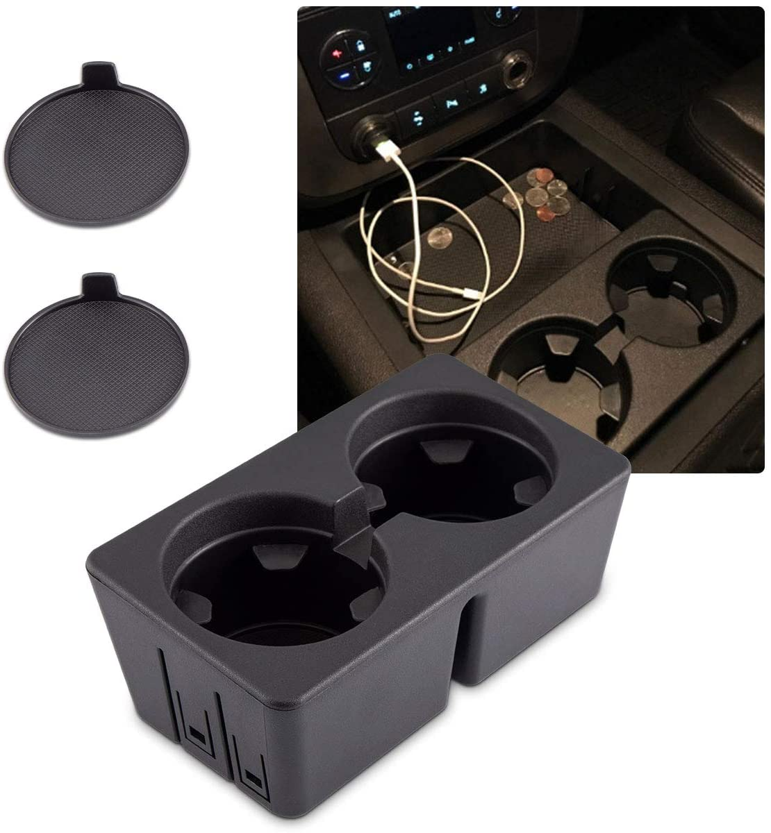 Eleven Guns Dual Cup Holder Insert for 19154712 Chevy Silverado Avalanche Suburban GMC Sierra Yukon Escalade Compatible with 2007-2014 Replacement Center Console Beverage Drink Insert