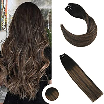 Ugeat 18Inch Straight Remy Clip in Human Hair Extensions Balayage Ombre  Hair Clip Extensions Color 1B