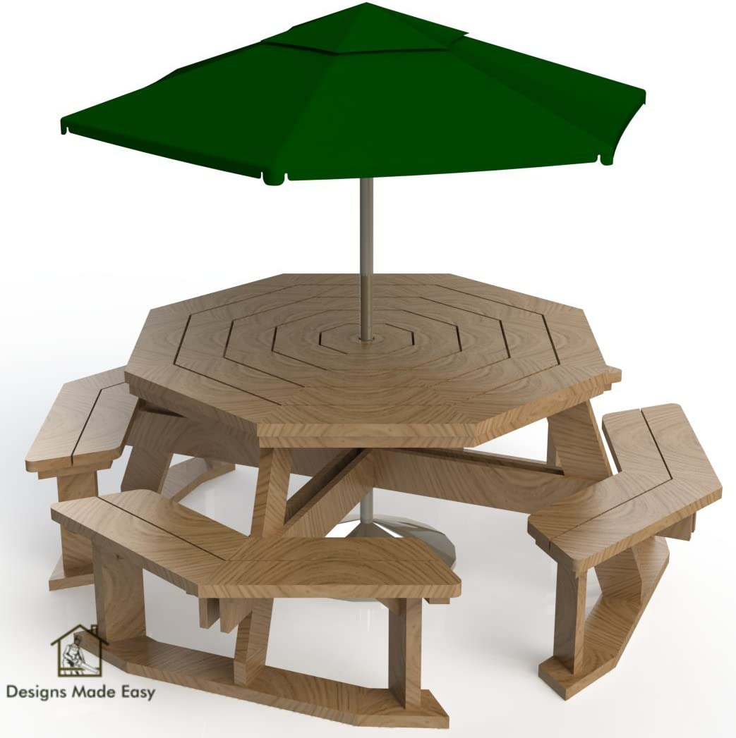 Easy Diy Octagon Picnic Table Design Plans Instructions For Woodworking 03 Amazon Com