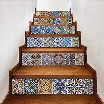 Yazi Peel And Stick Tile Backsplash Stair Riser Decals DIY Tile Decals  Mexican Traditional Talavera Waterproof Home Decor Staircase Decal Stair  Mural Decals ...
