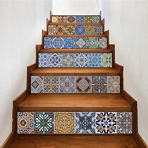 Wall Floor Decor Backsplash - yazi Peel and Stick Tile Backsplash Stair Riser Decals DIY Tile Decals Mexican Traditional Talavera Waterproof Home Decor Staircase Decal Stair Mural Decals 7''W x 39''L (Set of 6)