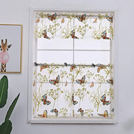 WINYY 3 Pieces Butterfly Kitchen Sheer Curtains Voile Tier Curtains and  Valance Set Printed Plant Short Curtain Scraf for Living Room Bedroom Rod  ...
