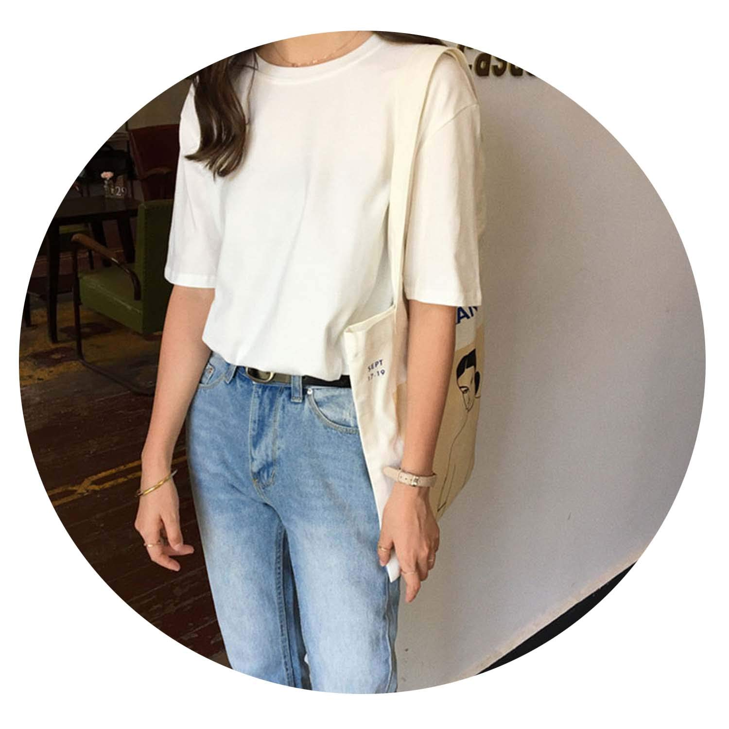 White 15 Solid color Basic TShirt Women Casual ONeck Harajuku Summer Top Korean Hipster WhitesXL
