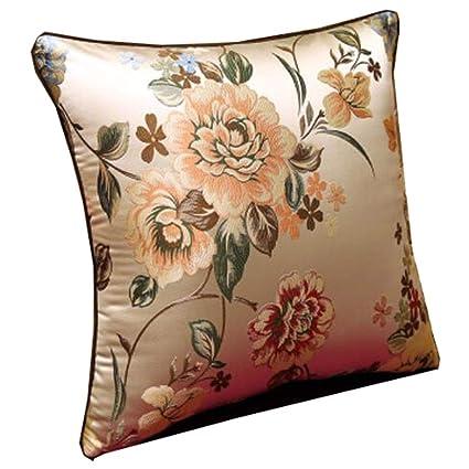 Amazon.com: Estilo chino clásica flores bordado almohadas ...