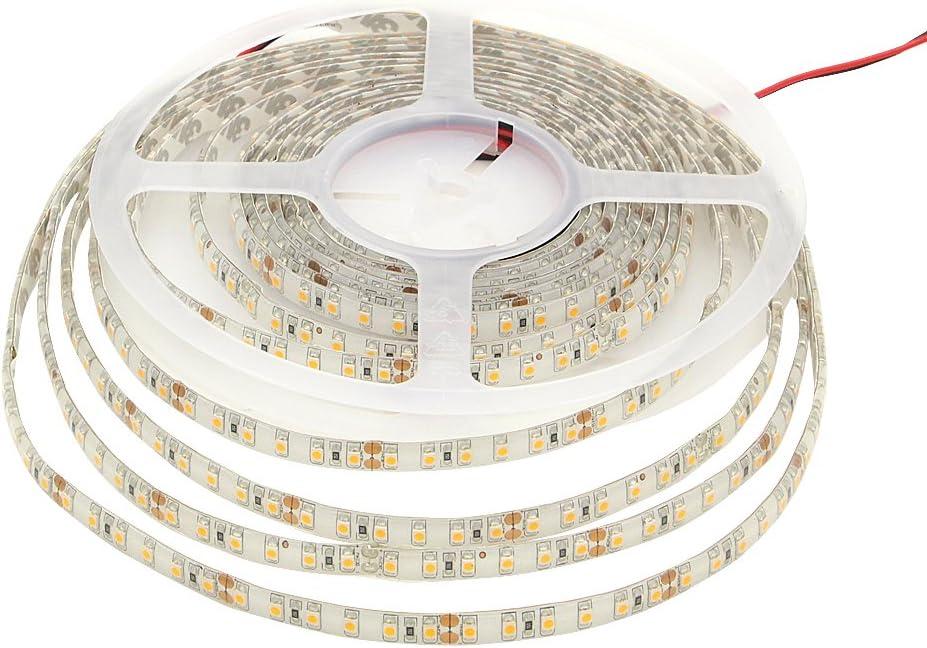 KINGLUX 2400K Led Strips, IP62 Warm White 2400K Super Bright DC12V 25W SMD3528 300LEDs, IP62 Led Tape Lights 2400K 5Meter 16.4Feet Using for Homes, Kitchen Cabinet Lights and ceilling Lights
