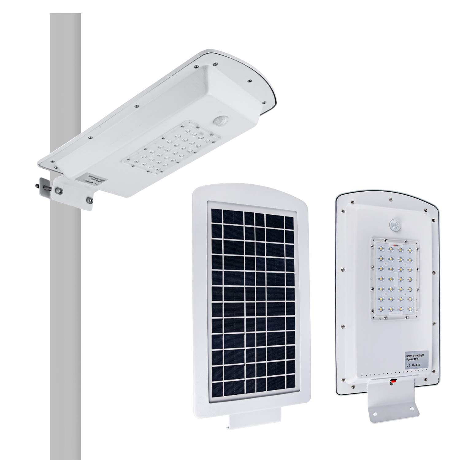 Brillihood 10W LED Integrated Solar Street Light, IP65 Waterproof Dimmable Solar Pole Light with Motion Sensor, 6000K (Daylight White), Security Area Night Lamp for Indoor/Outdoor Lighting.