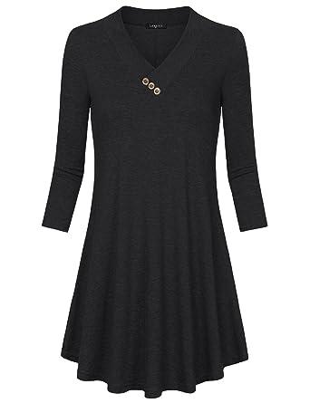 9646d507297 Laksmi Womens Tunic 3/4 Sleeve, V Collar Basic Slim Fit Soft A Line
