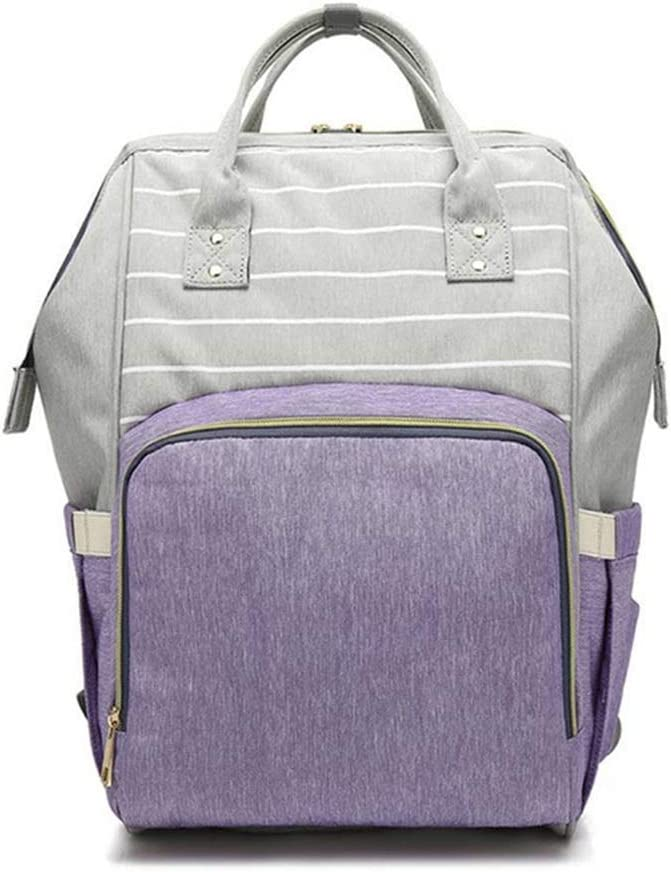 BuyBuyBuy Striped Mummy Bag Oxford Cloth Waterproof High-Capacity Shoulder Mother Bag Multifunctional Fashion Backpack 27CM 15CM 42CM Storage Tool Color : Purple