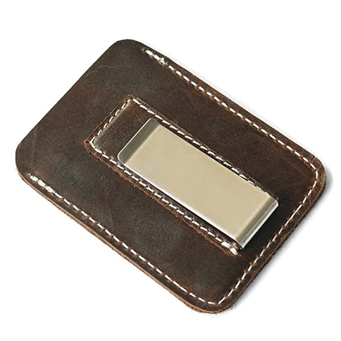 2f1c854f2076 Front Pocket Men Money Clips Vintage Genuine Leather Clamp For Money Holder  Removable Metal Clip Wallet