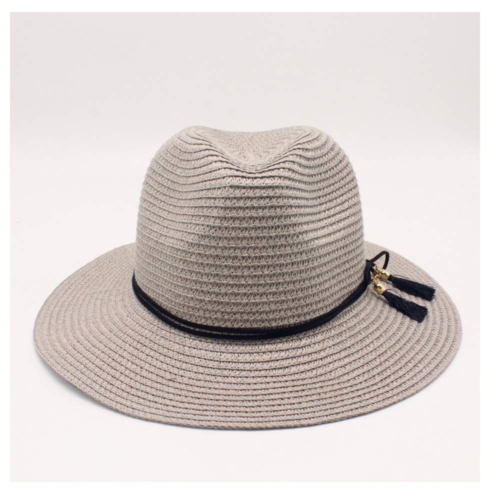 Sun Hats for Women Fashion Men Straw Leather Tassels Sombrero Retro Straw Hat Summer Wide Brim Casual Beach Hat Keep Warm