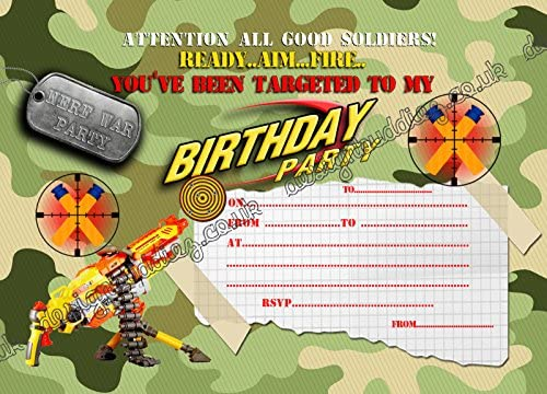 Nerf Gun Nerf War Army Birthday Party Invitations For Boys Pack Of