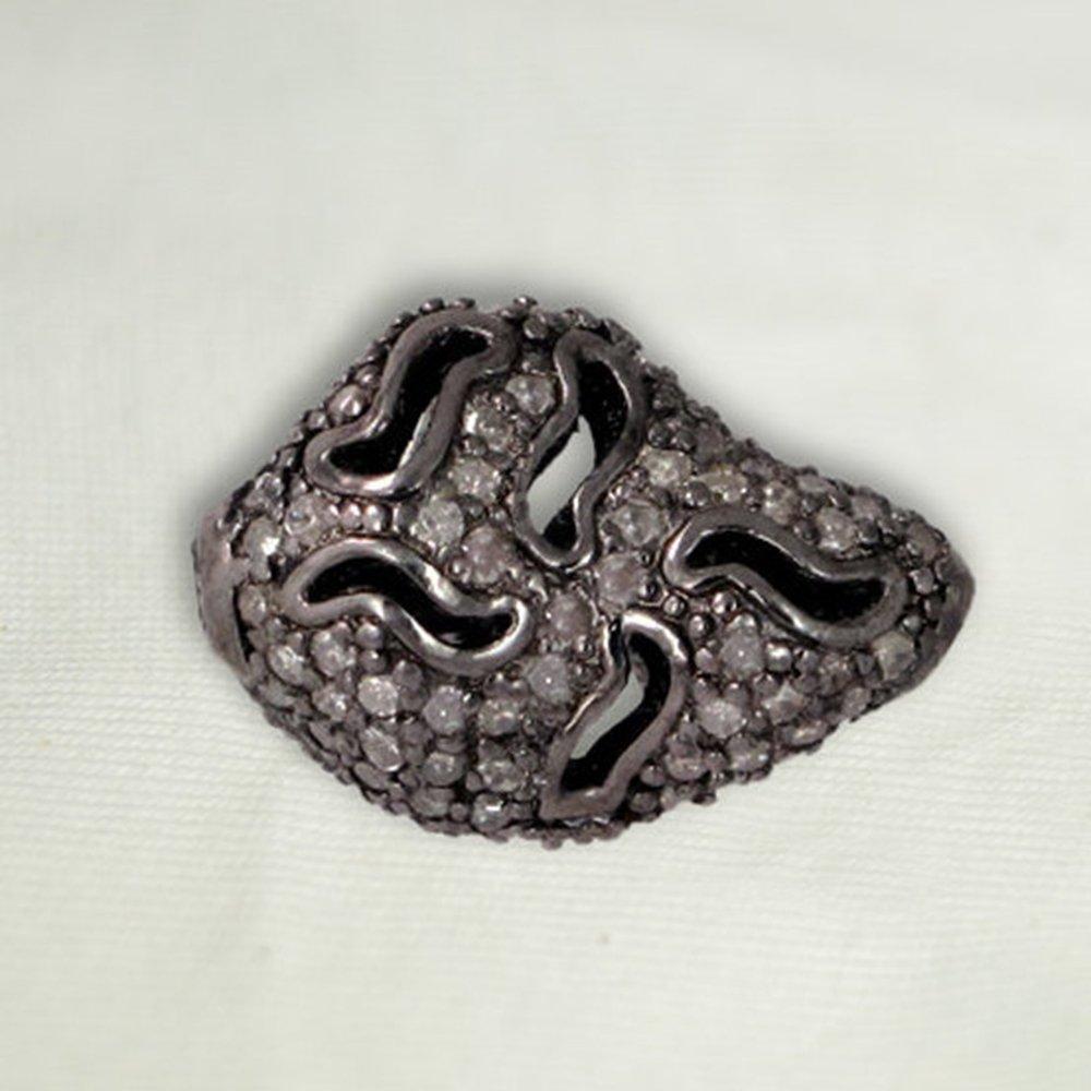 Pave Diamond 925 Sterling Silver Designer Spacer Beads jewelry by Jaipur Handmade Jewelry