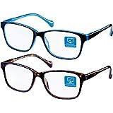 Blue Light Blocking Computer Glasses 2 Pack Decrease Eye Eyestrain Unisex(Women/Men) Glasses with Spring Hinges Nerd…