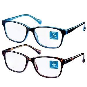 Blue Light Blocking Computer Glasses 2 Pack Decrease Eye Eyestrain Unisex(Men/Women) Glasses with Spring Hinges Blue Light Glasses …