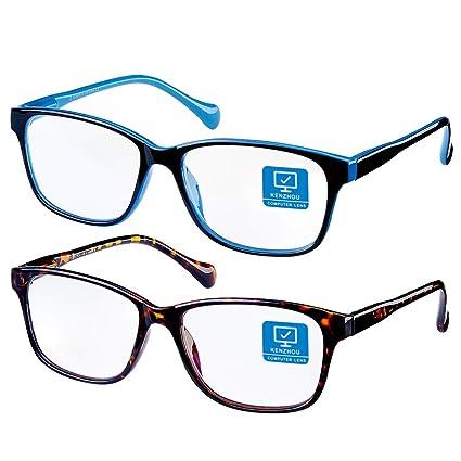 Blue Light Blocking Computer Glasses 2 Pack Anti Eye Eyestrain Unisex(Men/Women) Glasses with Spring Hinges UV Protection best women's blue light blocking glasses