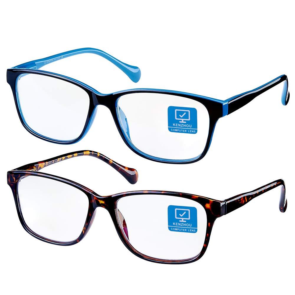 K KENZHOU Blue Light Blocking Computer Glasses 2 Pack Anti Eye Eyestrain Unisex(Men/Women) Glasses with Spring Hinges UV Protection Twilight and Blue