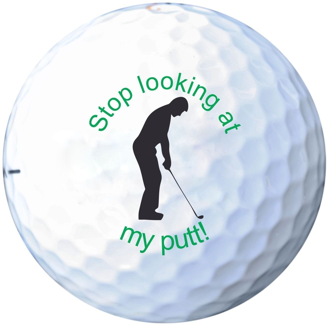 "(Set of 3) ""Stop Looking at my Putt!"" Funny Regulation Golf Balls, Funny Golf Gifts for Men - EB09"