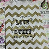Bakers Bling Wedding Party Favor Bags with Stickers, Gold and White Chevron Stripe Love is Sweet Enjoy a Treat Candy Bags, 5.5 x 7.5, Set of 48 Bags and 48 Stickers