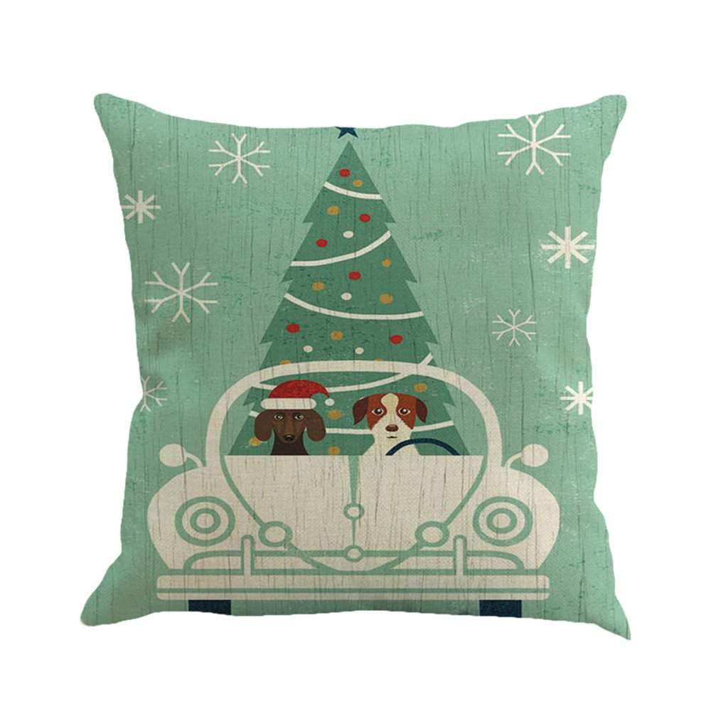 Christmas Printing Dyeing Sofa Bed Home Decor Pillow Cover Cushion Cover B