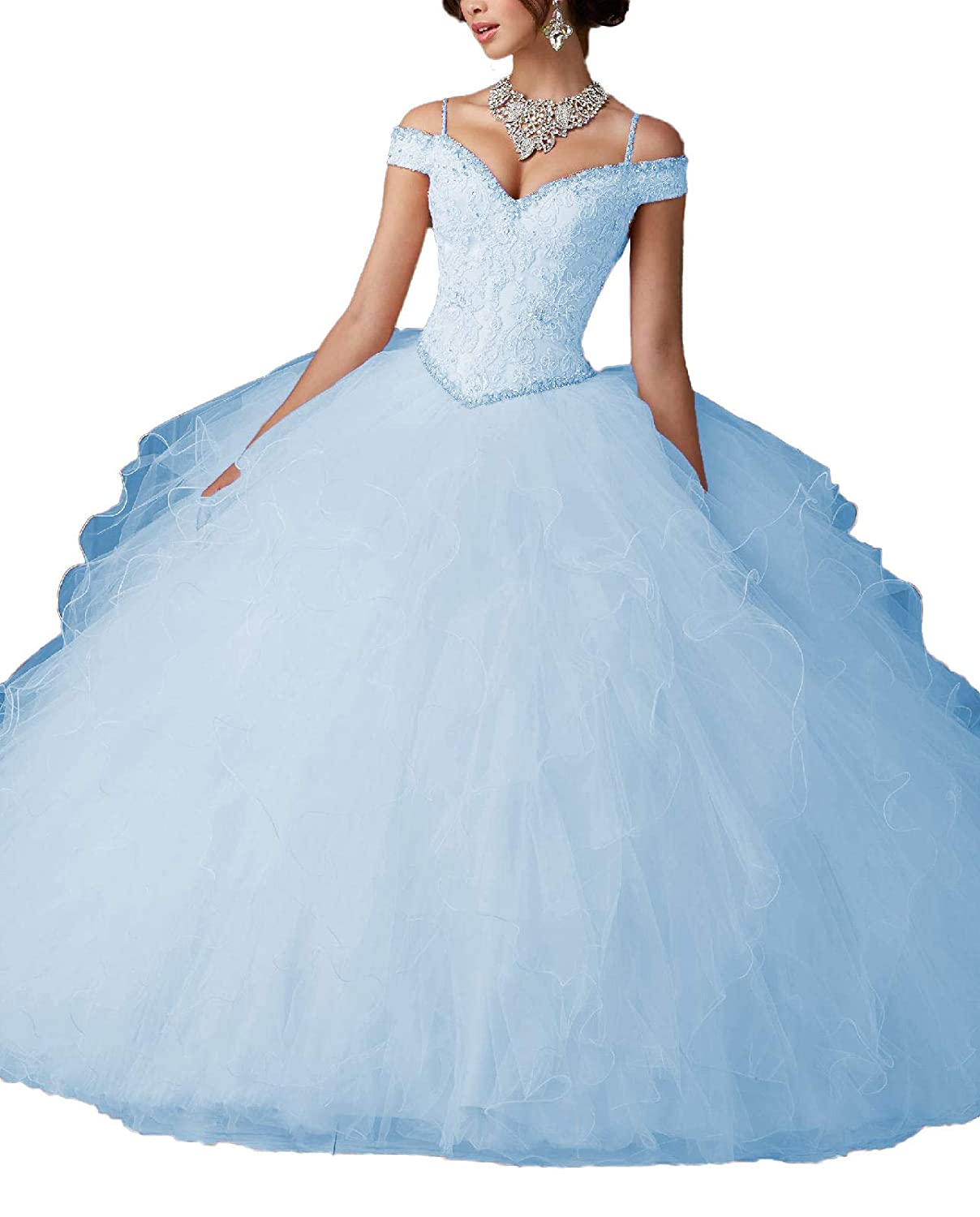 Light bluee Yisha Bello Women's Off The Shoulder Lace Applique Beaded Evening Ball Gowns Ruffles Quinceanera Dresses