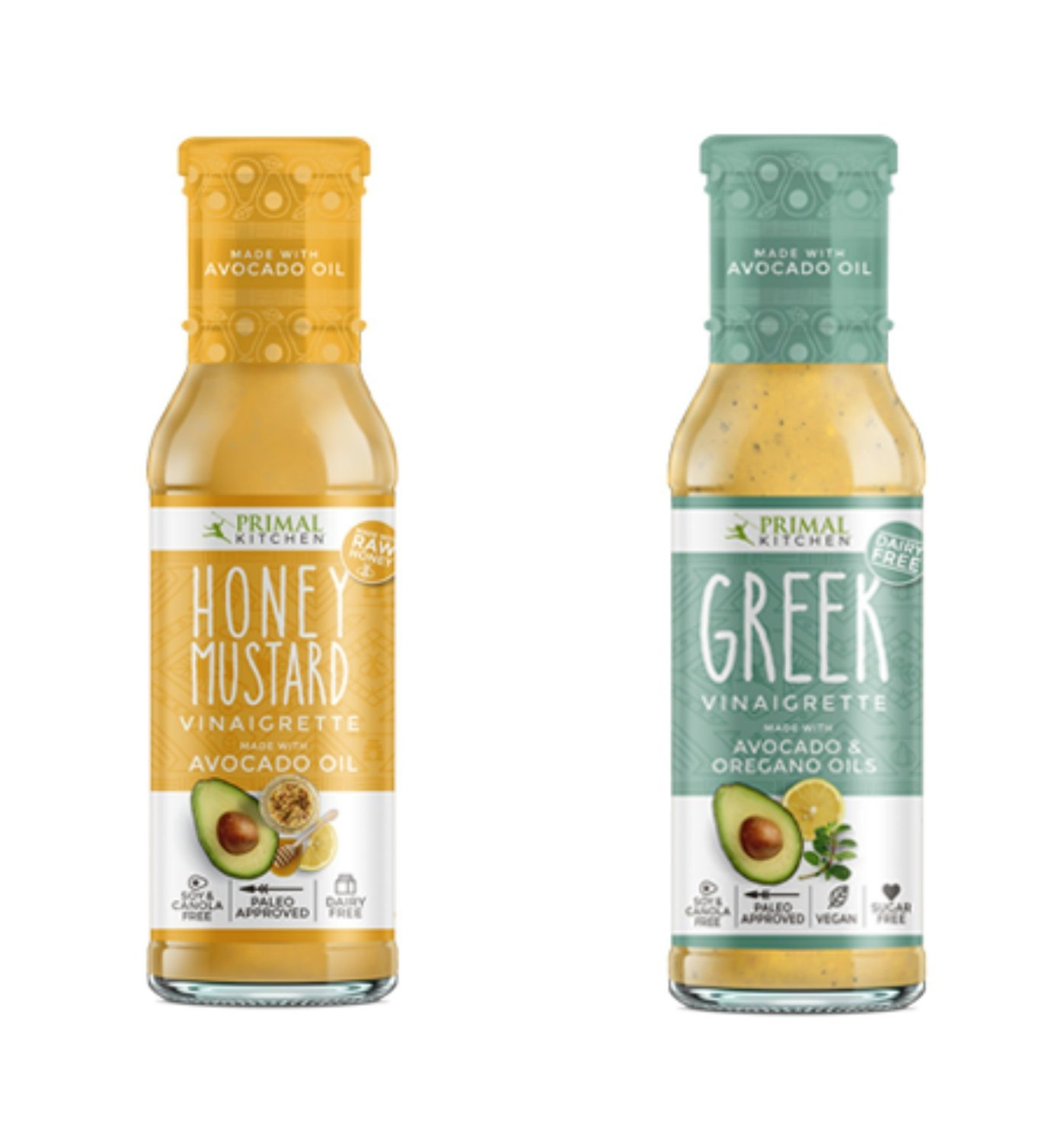 Primal Kitchen – Honey Mustard and Greek Vinaigrette Dressings Combo Pack, Made with Avocado Oil & Organic Ingredients – Vegan & Paleo Approved (8 Ounce, Combo)