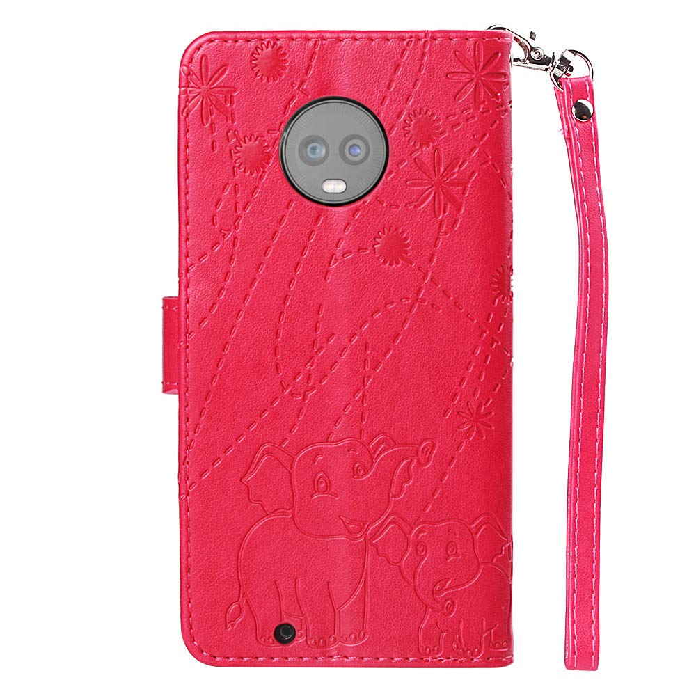 Moto G6 Case,Moto G6 Wallet Case,PU Leather Case Floral Elephant Flowers Embossed Purse with Kickstand Flip Cover Card Holders Hand Strap for Motorola Moto G6 5.7 Inch Rose Gold