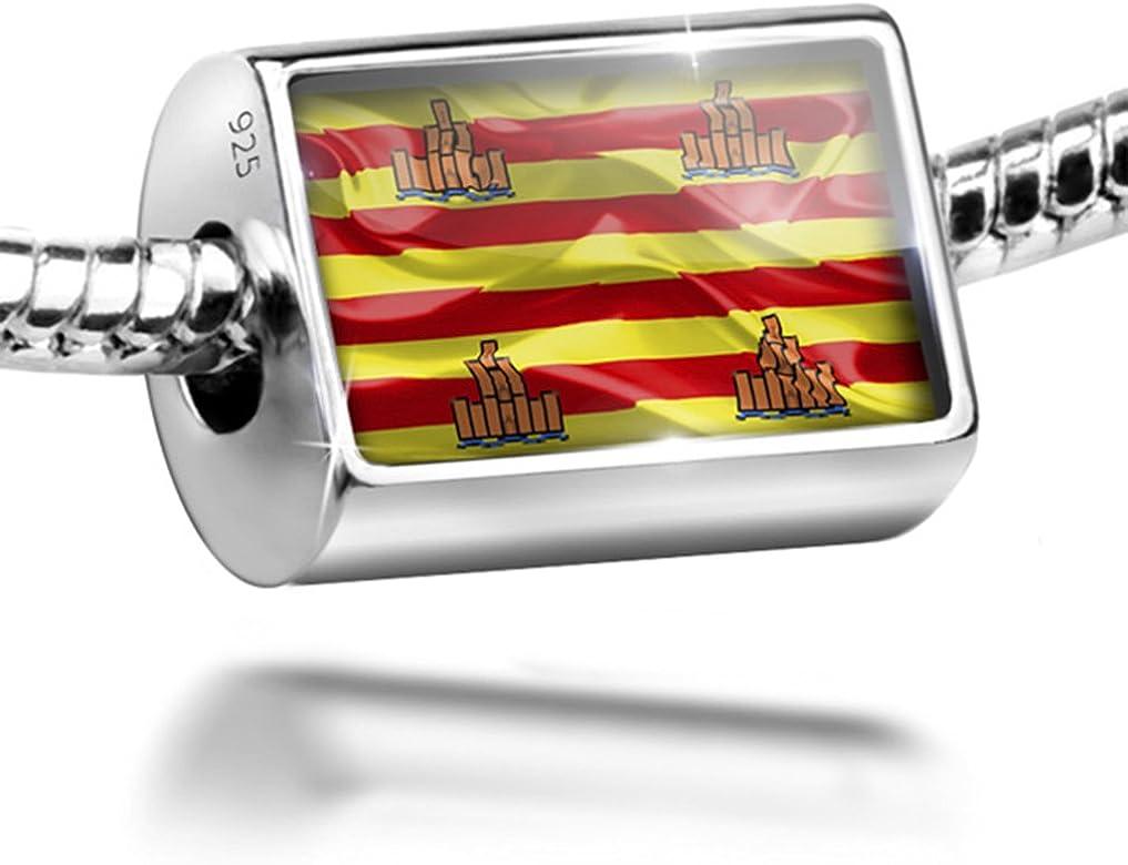 Plata de Ley Encanto Ibiza (España) 3d bandera – Bead Fit todos los Europea pulseras,: NEONBLOND: Amazon.es: Joyería