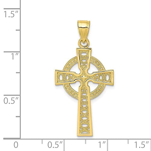 Silver Yellow Plated Cross Charm 34mm