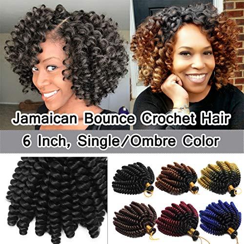 Loose Braid - 6 Inch Jamaican Bounce Crochet Hair Jumpy Wand Curl Short Curly Crochet Braids Synthetic Crochet Braiding Hair Extensions Twist Braid Hair #1B Natural Black