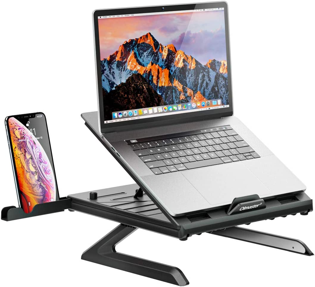 Olmaster Laptop Stand, Muti-Angle Adjustable Portable Foldable Laptop Stand with Heat-Vent, Ergonomic Laptop Stand Riser for Desk Compatible with MacBook, Air, Pro, Surface Laptop (9-15.6 inches)