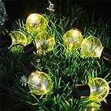 Solar Globe String Lights,MIYA LTD 10LED Fairy String Lights Bubble Crystal Ball Light Garland Lamp Decorative Lighting for Garden,Yard,Porch,Home,Christmas Tree Decorations - 10 LED Warm White Light