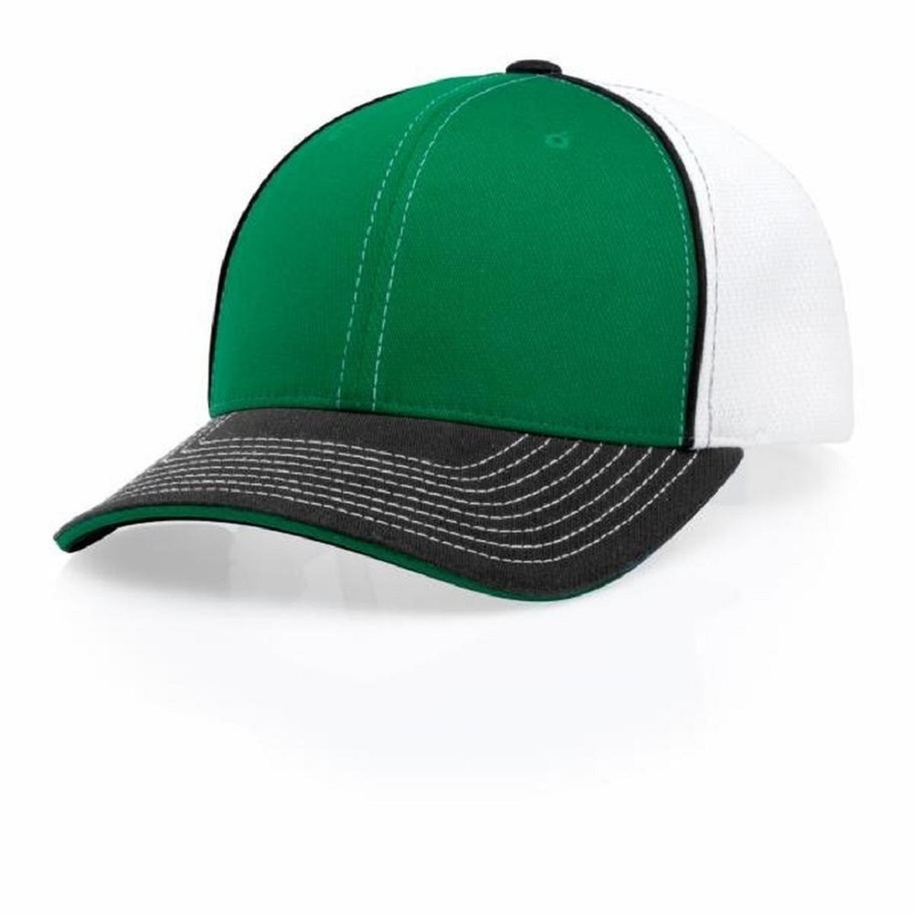 5dc0c8ea53 Amazon.com  Blackouttees Richardson Pulse 172 Baseball Cap Flex Fit Hat 172  White Back Green XS SM  Clothing