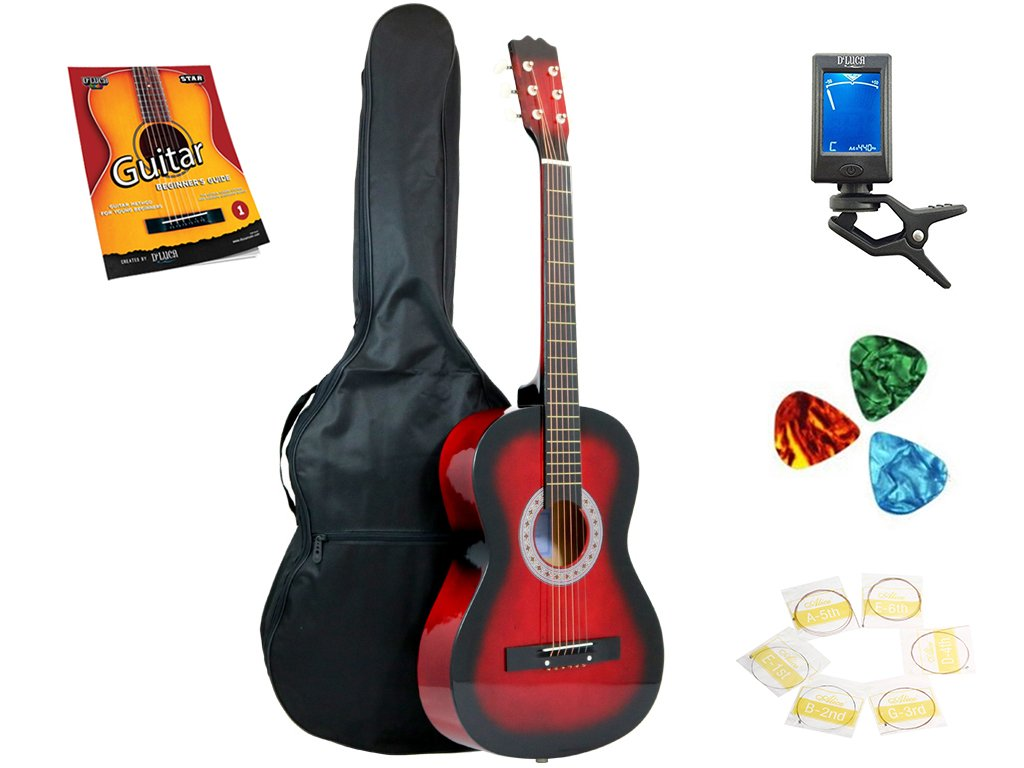 Star 6 Acoustic Guitar 38 Inch with Bag, Tuner, Strings, Picks and Beginner's Guide, Redburst (831-BTSPM-RDB) by Star