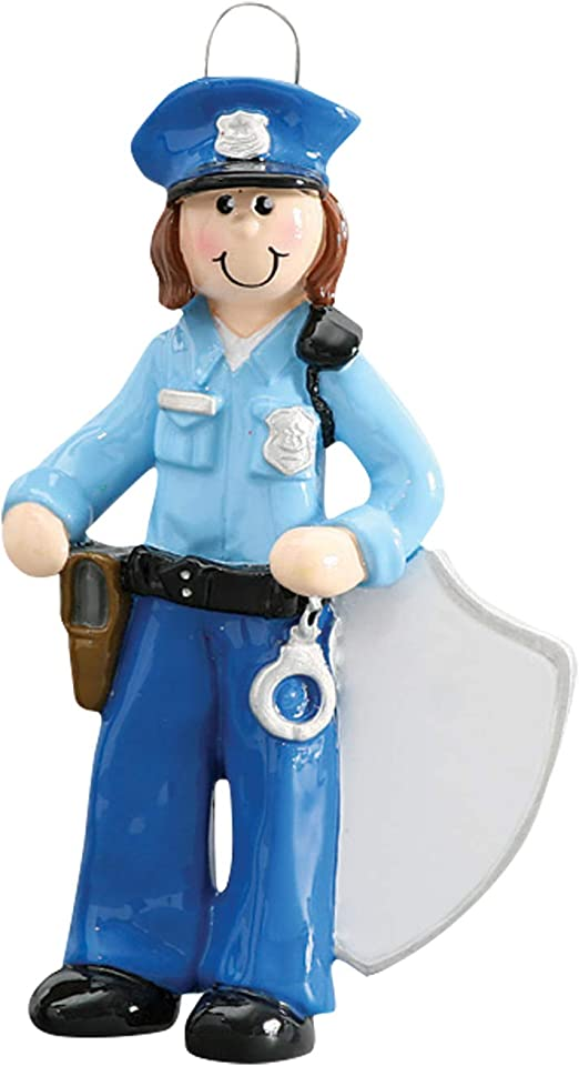 Police Female Brown Personalized Christmas Tree Ornament