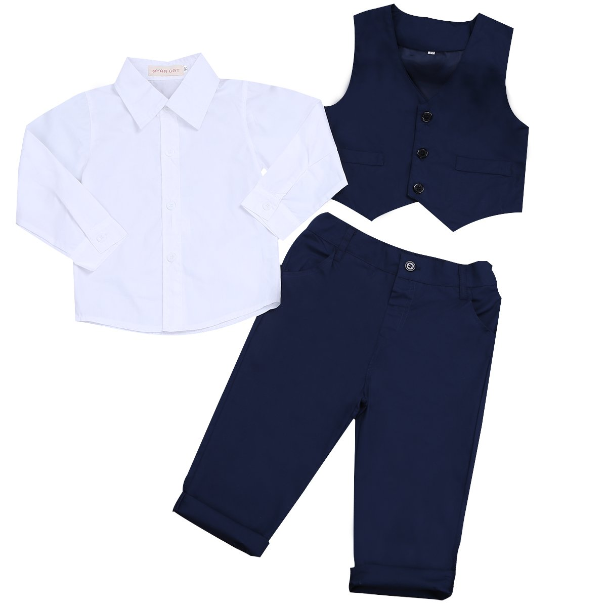 iEFiEL 3Pcs Kids Baby Boys Gentleman Tuxedo Wedding Outfits Top Shirt Pants with Vest Set Navy Blue+White 12-18 Months