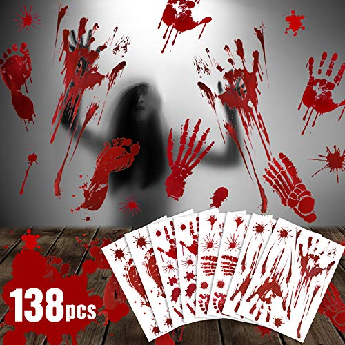 CandyHome 138 Pcs Halloween Party Decorations Bloody Hand Footprints Bloodstains Window Decals for Halloween Zombie Party Supplies Decorations for Floor Sticker Clings, 12 Sheets