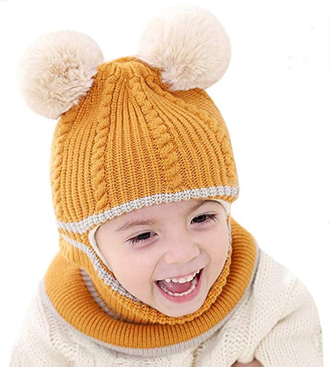 vamei Winterm/ütze Kinder Beanie M/ütze M/ädchen mit Bommel M/ütze Baby Strickm/ütze Ohren Schalm/ütze Jungen Winter Warm Beanie Baby M/ütze