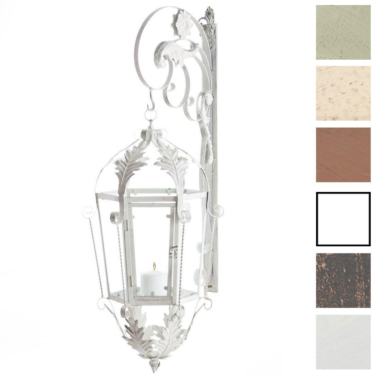 CLP Support pour Lanterne Odin - Support Murale pour Lampe d'Éclairage, Fabrication en Fer avec de Belles Décorations - Lampe Éclairage de Jardin Couleur au Choix: Blanc Antique