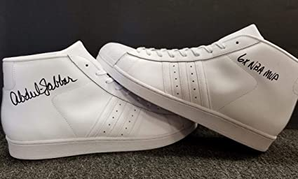 KAREEM ABDUL-JABBAR Signed ADIDAS quot 6x NBA MVP quot  Shoes White BAS  Beckett ITP 98afef755