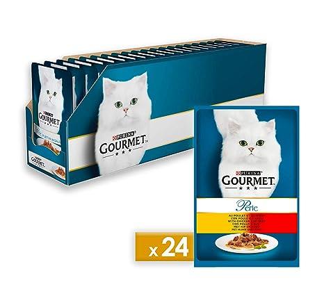 Gourmet Perle Alimento para el Gato, Duetti con delicadas Termómetro con Pollo y Manzo,
