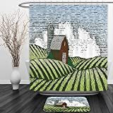 Vipsung Shower Curtain And Ground MatFarm House Decor Collection Woodcut Style Illustration of a Rural Woodenshack Scene Drawing Country Life Green White BrownShower Curtain Set with Bath Mats Rugs