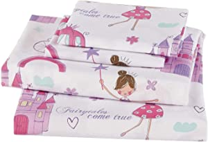 Mk Home Twin Size Sheet Set for Girls Princess Fairy Tales Castles Pink White Lavender New