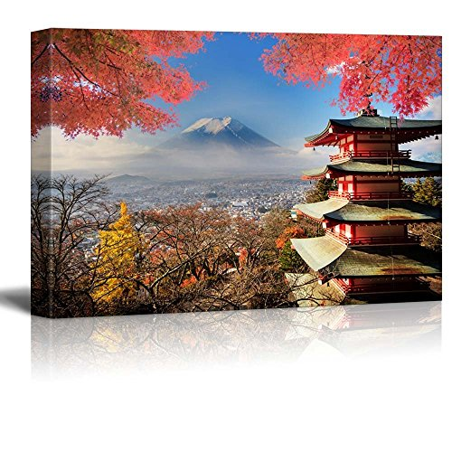 Japanese Shrine on a Garden Looking Over Mount Fuji