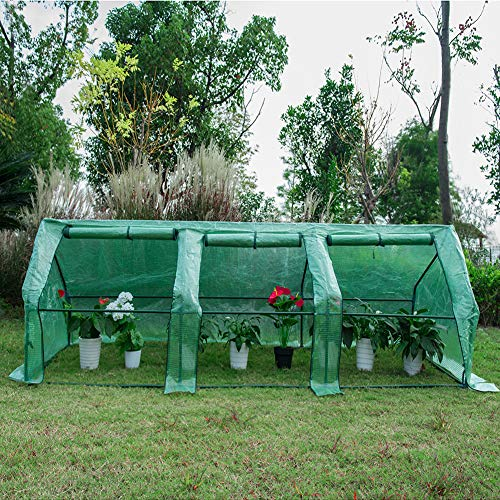"""Sundale Outdoor Portable Gardening Steeple Mini Green House with PE Cover and Zipper Doors, Waterproof Hot Green House, UV Protection, Insect Prevention, 106.3""""(L) x 35.4""""(W) x 35.4""""(H) by Sundale Outdoor (Image #1)"""