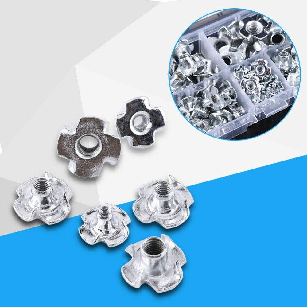 165 pcs Carbon Steel Four Pronged T Nuts M3//M4//M5//M6//M8//M10//M12 Blind Inserts Nut for Wood Furniture