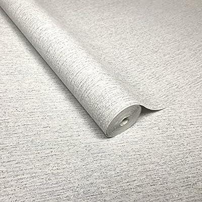 QUADRUPLE ROLL 113.52sq.ft embossed European Slavyanski wallcovering washable plain Vinyl Non-Woven Wallpaper solid white grey gray silver metallic sparkles glitter modern textured paste the wall only