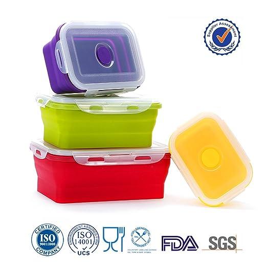 y.m.h ® Caja de almuerzo de silicona sin olor plegable moda y ...