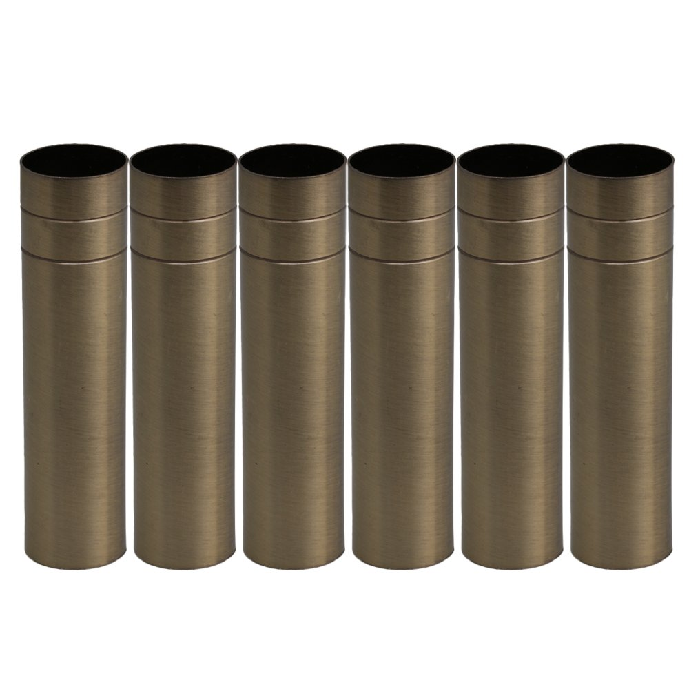 BQLZR 10cm Height 2.5cm Dia Bronze Double-Line Chandelier Candle Light Cover Sleeves Socket Pack of 6